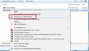 Abrindo o instalador do WAMP Server como administrador