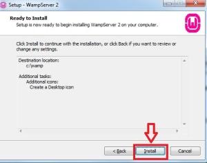 Terminado configuração do WAMP Server e iniciando a instalação dos arquivos.
