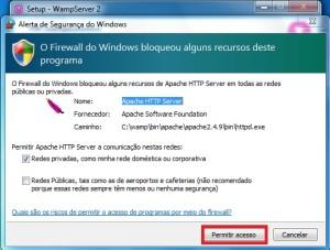 Permitindo o acesso ao servidor apache no Firewall do Windows 7