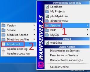 Abrindo o httpd.conf no WAMP Server para alteração da porta de acesso.