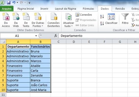 Dados já classificados no Excel 2010.