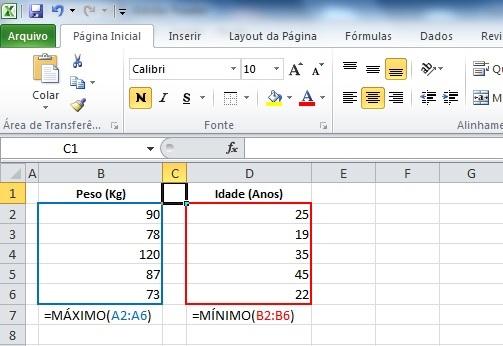 Trabalhando com as funções MÁXIMO e MÍNIMO no Excel 2010.