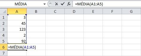 Trabalhando com a função MÉDIA no Excel 2010.