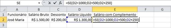 Trabalhando com a função SE no Excel 2010.