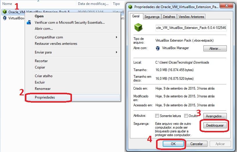 Desbloqueando o arquivo de instalação do Extension Pack.