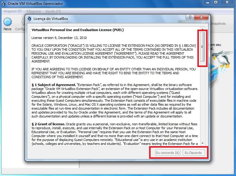 Licença de uso do Extension Pack - VirtualBox.