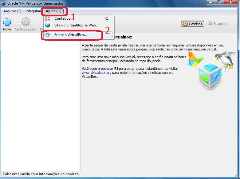 Verificando a versão instalada do VirtualBox.