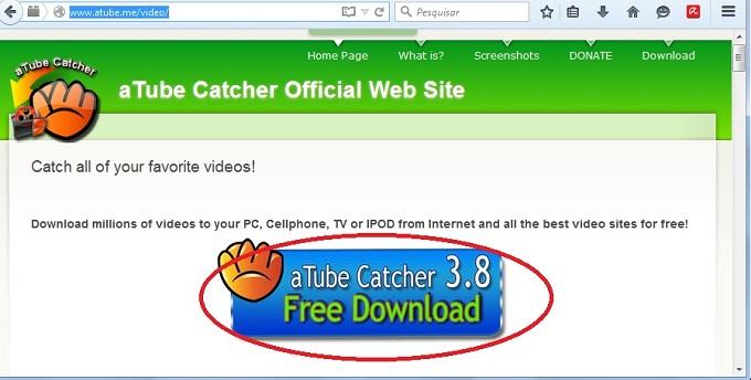 Realizando download do aTube Catcher