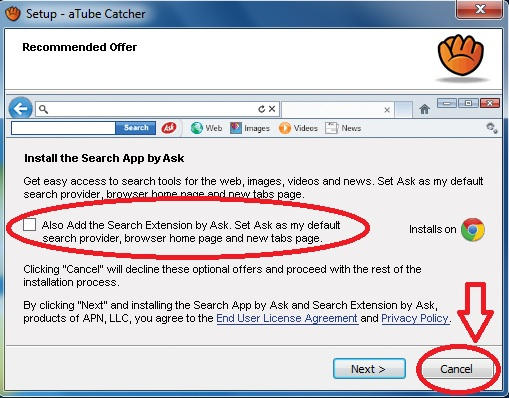 Primeira oferta maliciosa na instalação do aTube Catcher.