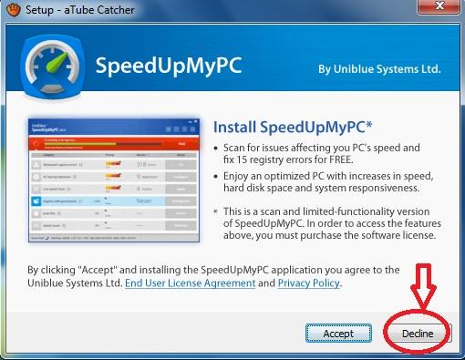 Mais uma oferta maliciosa na instalação do aTube Catcher.