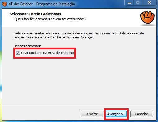 Criação de atalho para o aTube Catcher na Área de Trabalho do Windows 7.