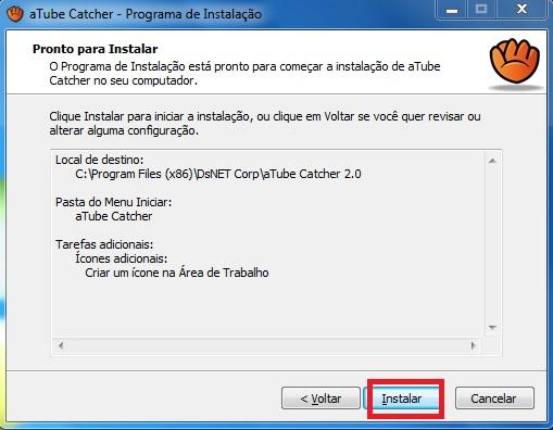 Resumo da configuração para instalação do aTube Catcher.